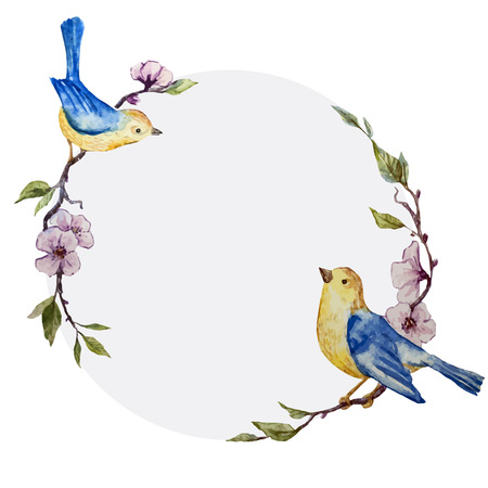 animals frame: Beautiful vector frame with bird on white fon