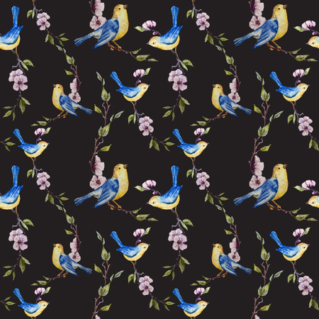 fon: Beautiful vector pattern with birds on black fon Illustration