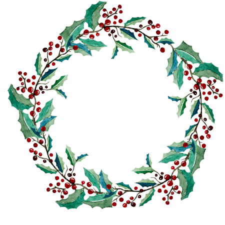 Beautiful vector floral wreath with berries on white fon