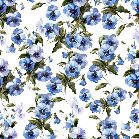 Beautiful vectorn pattern with blue flowers on white fon Stock Illustratie