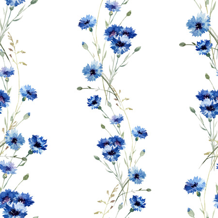 Beautiful vectorn pattern with blue flowers on white fon Illusztráció