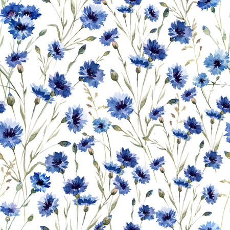 Mooie vectorn patroon met blauwe bloemen op witte fon Stock Illustratie