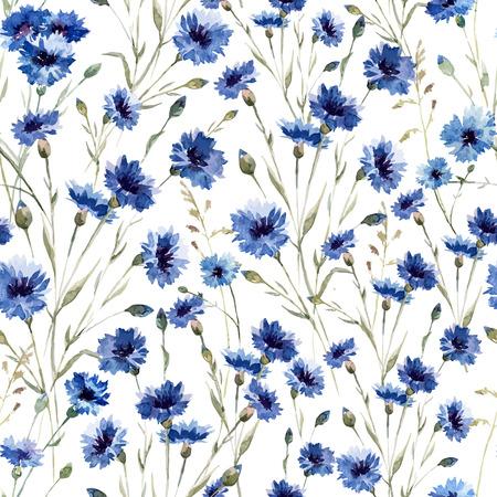 Beautiful vectorn pattern with blue flowers on white fon Stock Illustratie