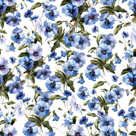 白い fon に青い花を持つ美しい vectorn パターン  イラスト・ベクター素材