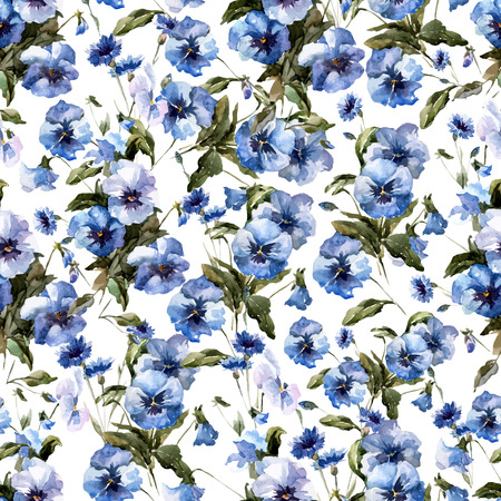 Beautiful vectorn pattern with blue flowers on white fon Ilustracja