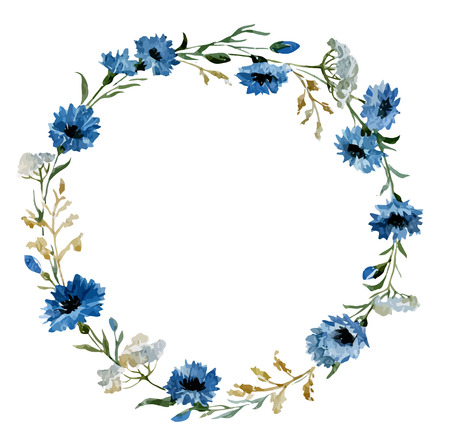 fon: Beautiful vectorn pattern with blue flowers on white fon Stock Photo