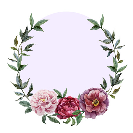 Beautiful vector watercolor frame with peonies on black fon Vettoriali