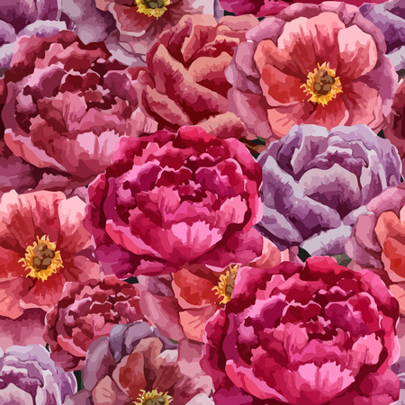 Beautiful vector watercolor pattern with peonies on black fon Illustration