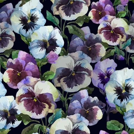 fon: Beautiful vector pattern with blue flowers on black fon