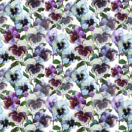 Beautiful vector pattern with blue flowers on white fon