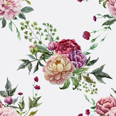 Beautiful vector pattern with pink flowers on white fon