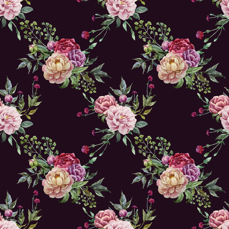 fon: Beautiful vector pattern with pink flowers on black fon Illustration
