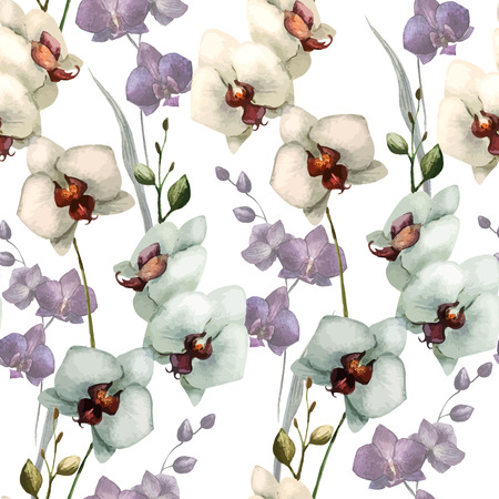 orchid branch: Beautiful vector pattern with orchid flowers on white fon