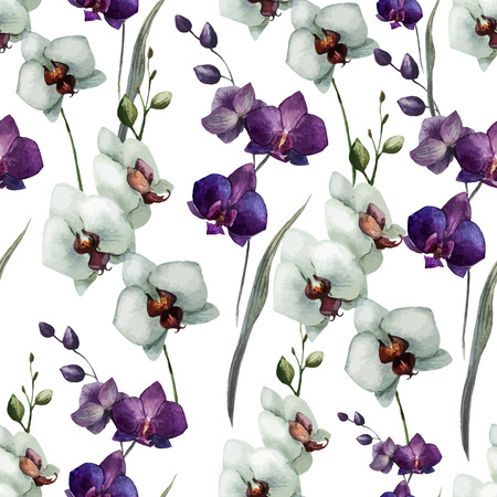 fon: Beautiful vector pattern with orchid flowers on white fon