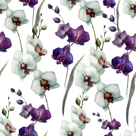 Modelo hermoso del vector con flores de las orquídeas en fon blanco