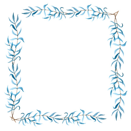 Beautiful vector frame with blue leafs on brunch on white fon