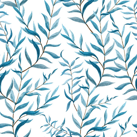 botanical drawing: Beautiful vector pattern with blue leafs on brunch on white fon