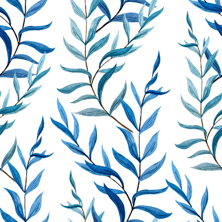 fon: Beautiful vector pattern with blue leafs on brunch on white fon