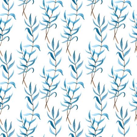 美しいベクトル パターン青と白 fon のブランチに葉します。