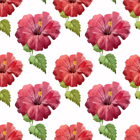 fon: Beautiful vector pattern with red flowers on white fon