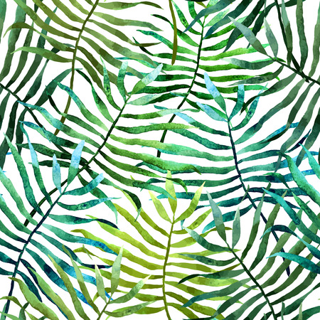Beautiful vector pattern with tropic leafs on white fon Vectores