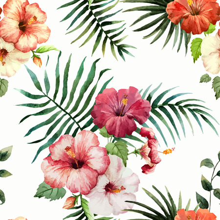 Beautiful vector pattern with tropic leafs on white fon 일러스트