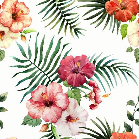 patrones de flores: Modelo hermoso del vector con el tr�pico hojea el fon blanco