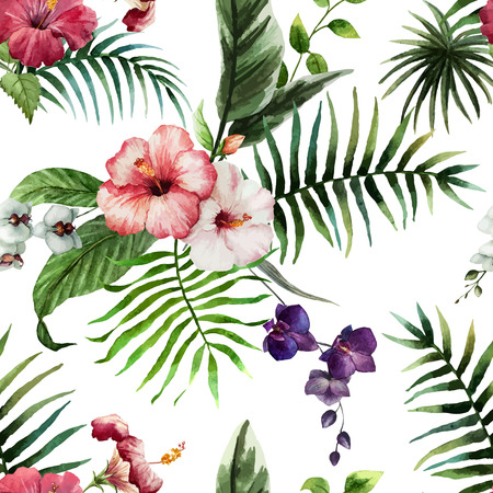 exotic: Beautiful vector pattern with tropic leafs on white fon Illustration