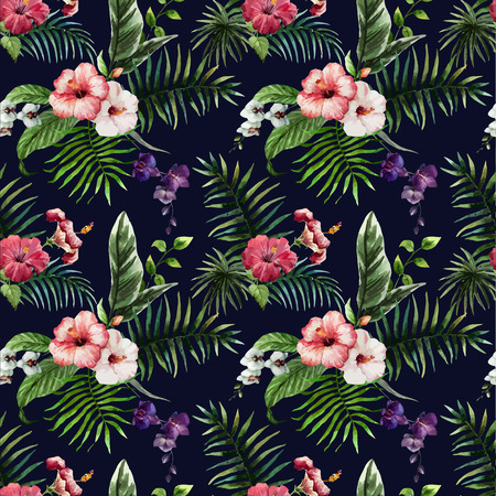 hibiscus flowers: Beautiful vector pattern with tropic leafs on white fon Illustration