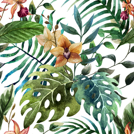 Beautiful vector pattern with tropic leafs on white fon Çizim