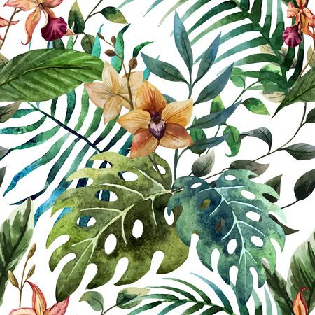 orchidee: Bella vettore modello con tropico foglie su bianco fon