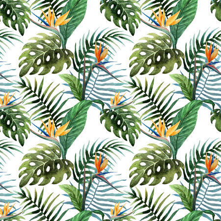 tropical garden: Beautiful vector pattern with tropic leafs on white fon Illustration