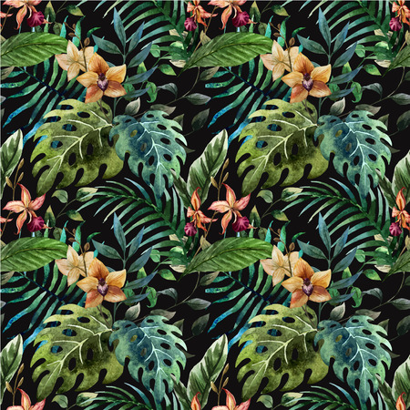 Beautiful vector pattern with tropic leafs on black fon