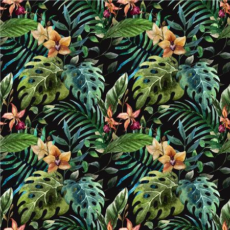 Prachtige vector patroon met tropische bladeren op zwart fon