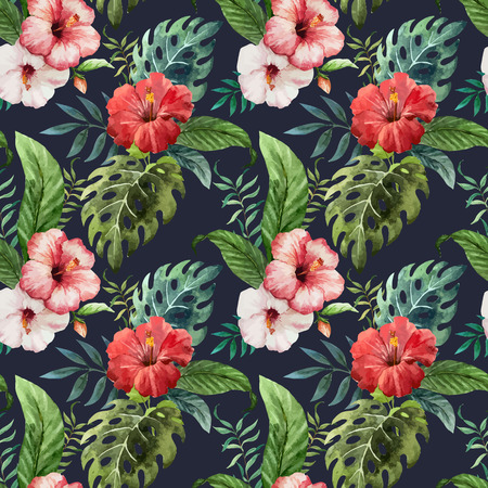 fon: Beautiful vector pattern with tropic leafs on black fon