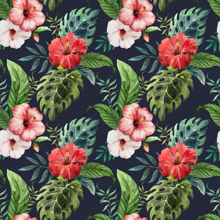 fon: Beautiful vector pattern with tropic leafs on black fon