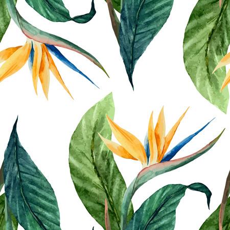 열대와 아름 다운 벡터 패턴 흰색 FON에 리프 계산