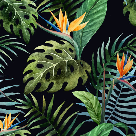 tropical forest: Beautiful vector pattern with tropic leafs on black fon