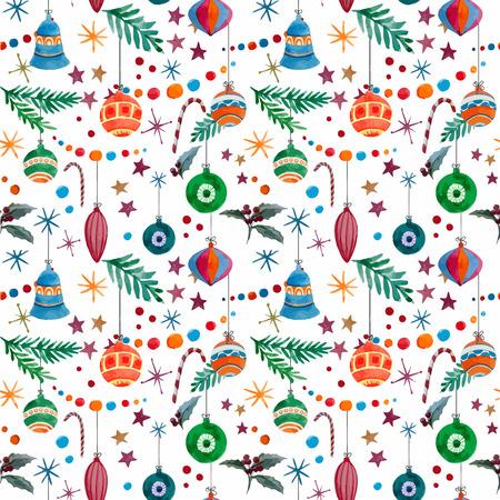 fon: Beautiful christmas vector pattern with birds on white fon Illustration