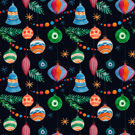 fon: Beautiful christmas vector pattern with birds on black fon Illustration