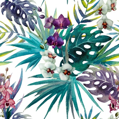 jungle: trend illustration pink object brush purple exotic Stock Photo