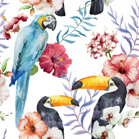 tropical bird: Wallpaper plant new popular bird like random Illustration