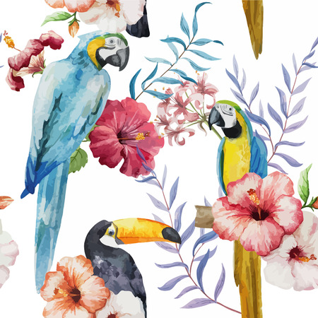 Wallpaper plant new popular bird like random 向量圖像