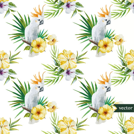 Beautiful hibiscus vector pattern with white parrot Vector