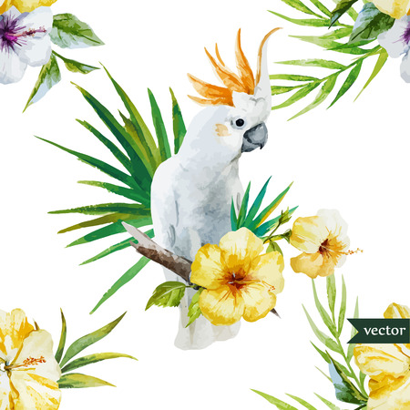 Beautiful hibiscus vector pattern with white parrot Ilustração