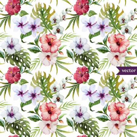 seamless floral pattern: Beautiful hibiscus vector pattern