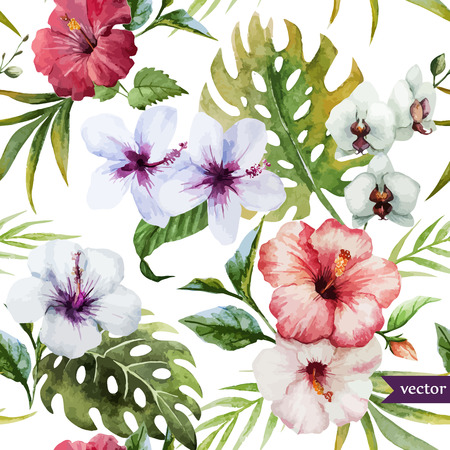 exotic: Beautiful hibiscus vector pattern