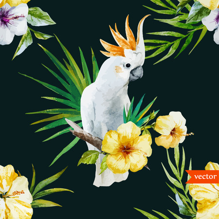Beautiful hibiscus vector pattern with white parrot Vectores