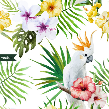 Beautiful hibiscus vector pattern with parrot