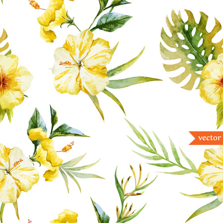 Beautiful hibiscus vector pattern